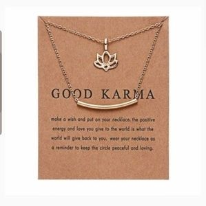 "Gold ""Good Karma"" Lotus/Bar Pendant Necklace"
